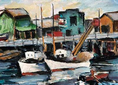 "August Gay -- ""Monterey Wharf"" -- 5 x 7 inches, oil on board. Available"